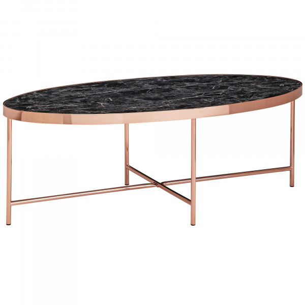 WOHNLING Design Couchtisch Marmor Optik Schwarz - Oval 110 x 56 cm mit Kupfer Metallgestell | Großer