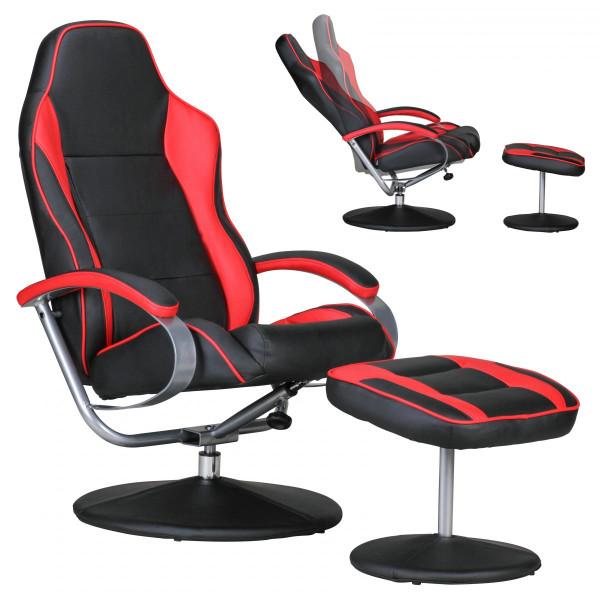 AMSTYLE Fernsehsessel SPORTING TV Design Relax-Sessel Racing Bezug Kunstleder schwarz / rot drehbar