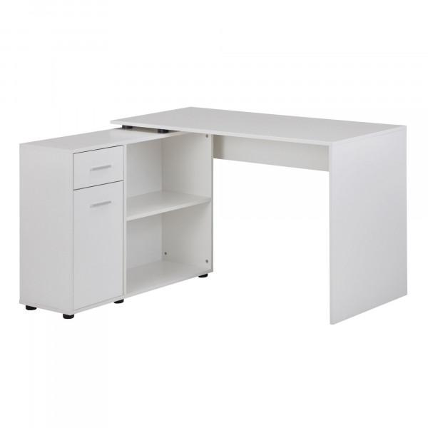 WOHNLING Design Eckschreibtisch mit Regal Weiß 120 x 75,5 x 106,5 cm