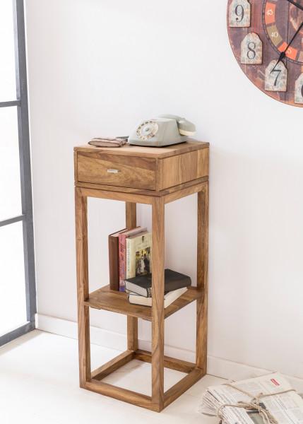 WOHNLING Beistelltisch MUMBAI Massivholz Akazie Anstelltisch Telefontisch mit Schublade