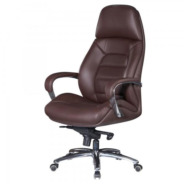 AMSTYLE Designer Bürostuhl Bezug Echtleder Braun Schreibtischstuhl   Chefsessel höhenverstellbar