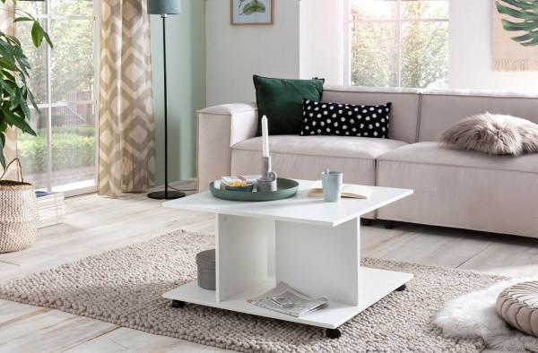 WOHNLING Design Couchtisch Torry 74 x 74 x 43,5 cm Weiß Drehbar mit Rollen   Wohnzimmertisch