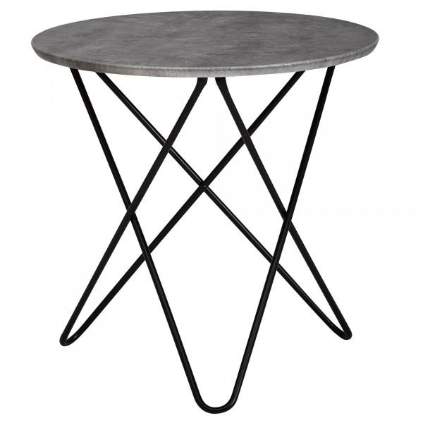 WOHNLING Design Beistelltisch in Beton Optik Grau Rund 60 cm | Couchtisch Metallbeine Schwarz