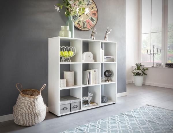 WOHNLING Design Bücherregal ZARA mit 9 Fächern Weiß
