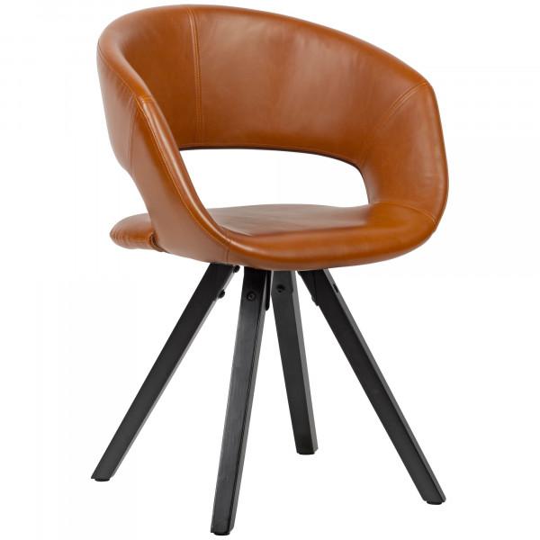 WOHNLING Esszimmerstuhl Kunstleder Braun mit schwarzen Beinen Stuhl Retro
