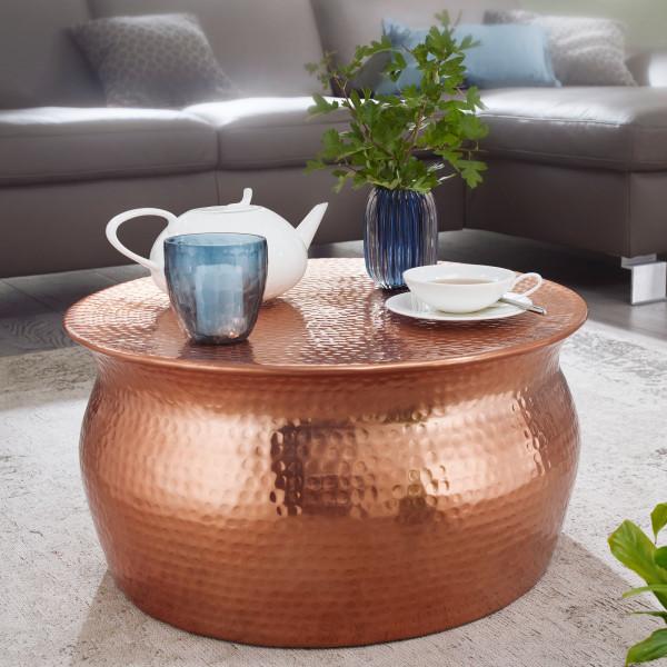 WOHNLING Couchtisch KARAM Aluminium Kupfer Beistelltisch orientalisch rund