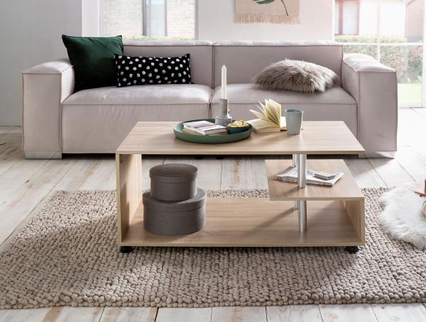 WOHNLING Design Couchtisch Letty 105 x 48,5 x 60 cm Sonoma Drehbar mit Rollen | Wohnzimmertisch