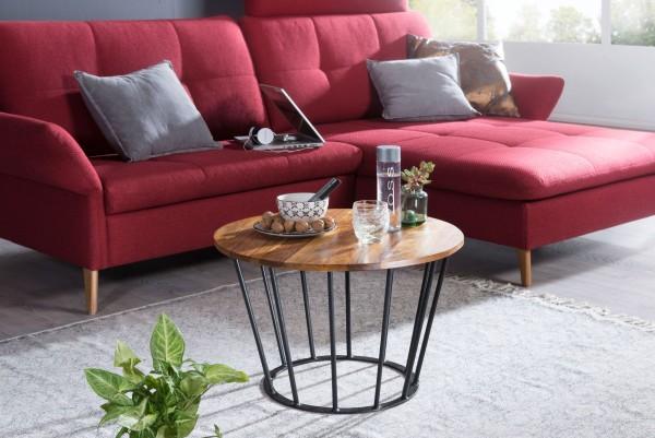 WOHNLING Couchtisch Ormond 62 x 40 x 62 cm WL5.681 Sheesham Holz Metall Wohnzimmertisch   Industrial