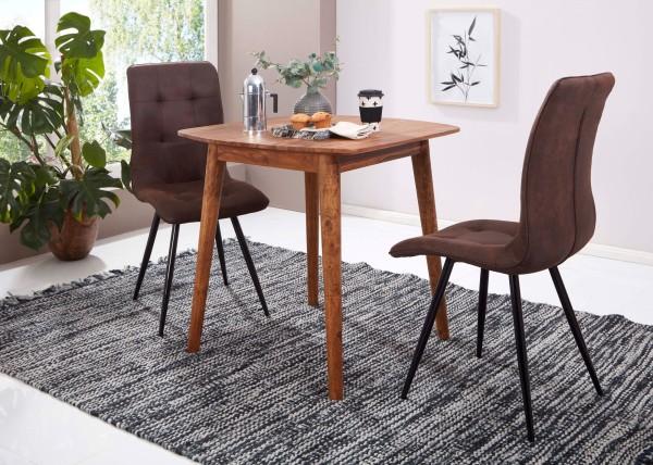 WOHNLING Esszimmertisch Sheesham 80x78x80 cm Massivholz Tisch | Designer Küchentisch Holz
