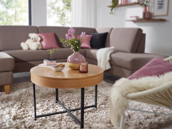 WOHNLING Design Couchtisch Rund Ø 69 cm mit Eichen Optik Tisch mit Stauraum   Lounge-Wohnzimmertisch