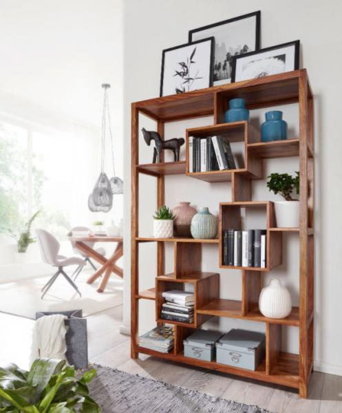 WOHNLING Bücherregal MUMBAI Massiv-Holz Sheesham 115 x 180 cm Wohnzimmer-Regal Ablagefächer Design L