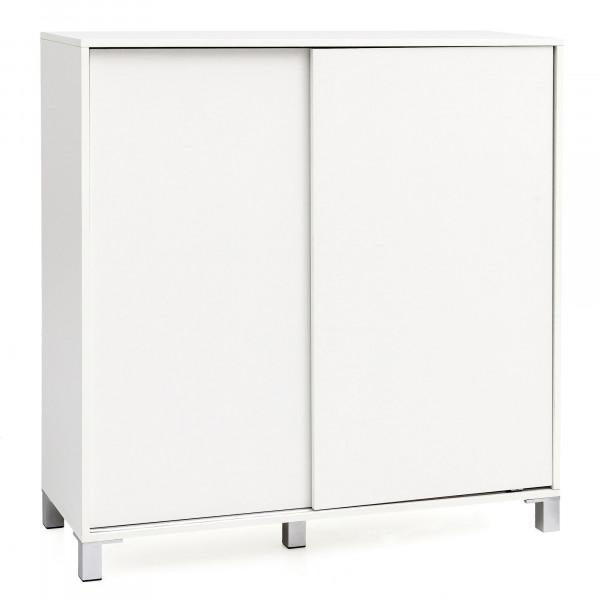 WOHNLING Schuhschrank Telly Weiß 100x108x37,5 cm Ablage Hoch | Design Schuhständer Groß