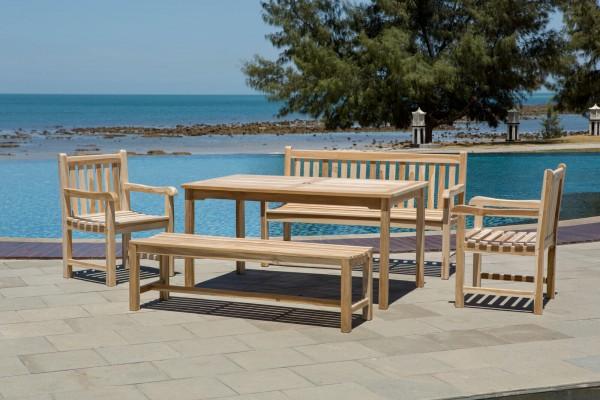 MÖBILIA Gartenmöbel-Set ALVARO 5-tlg. Gartengarnitur 2 Armlehnstühle, 2 Bänke, 1 Tisch natur