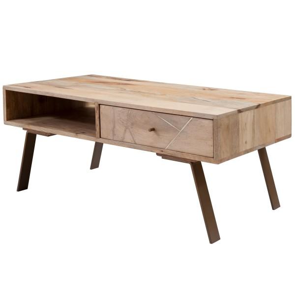 WOHNLING Couchtisch SIKAR 95x42x50cm Mango Massivholz / Metall Sofatisch | Design Wohnzimmertisch