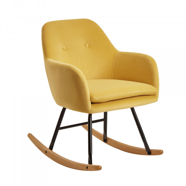 WOHNLING Schaukelstuhl Gelb Design Relaxsessel Samt / Holz