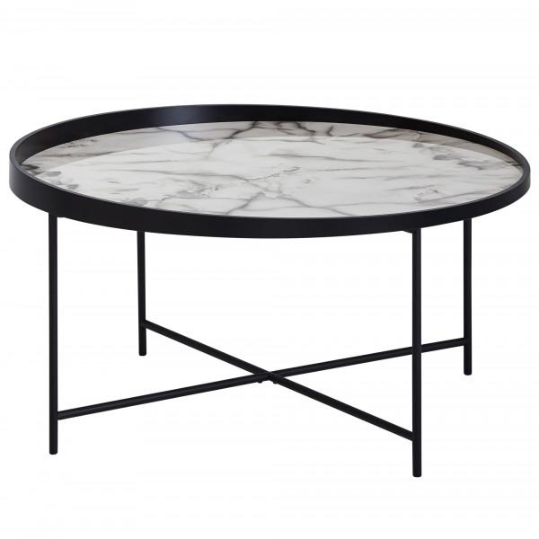 WOHNLING Design Couchtisch Rund 76 cm mit Marmor Optik Weiß | Wohnzimmertisch Metallbeine Schwarz