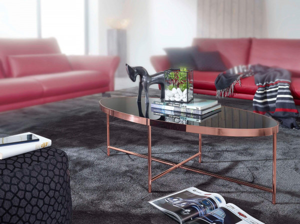 WOHNLING Design Couchtisch Oval 110 x 56 cm Spiegel Glas | Wohnzimmertisch mit Metallgestell in Kupf