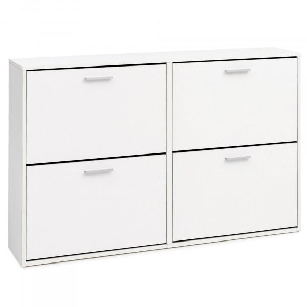 WOHNLING Schuhschrank Leila Modern 120 x 81 x 24 cm Holz Schuhregal Weiß 4 Fächer | Schuhkommode