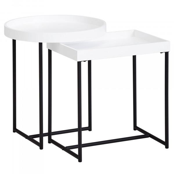 WOHNLING Satztisch 2er Set Weiß WL5.980 Holz/Metall Beistelltische Modern | Design Tabletttisch 2-Te