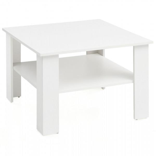 WOHNLING Couchtisch Gina Weiß 60x42x60 cm Design Holztisch mit Ablage | Wohnzimmertisch