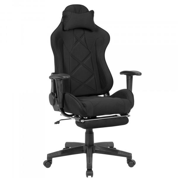 AMSTYLE Gaming-Schreibtischstuhl Bezug Stoff Schwarz Drehstuhl bis 120 kg