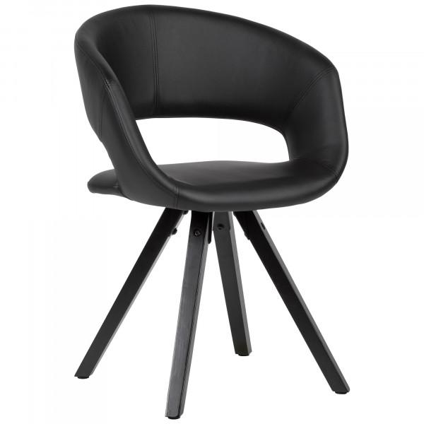 WOHNLING Esszimmerstuhl Kunstleder Schwarz mit schwarzen Beinen Stuhl Retro