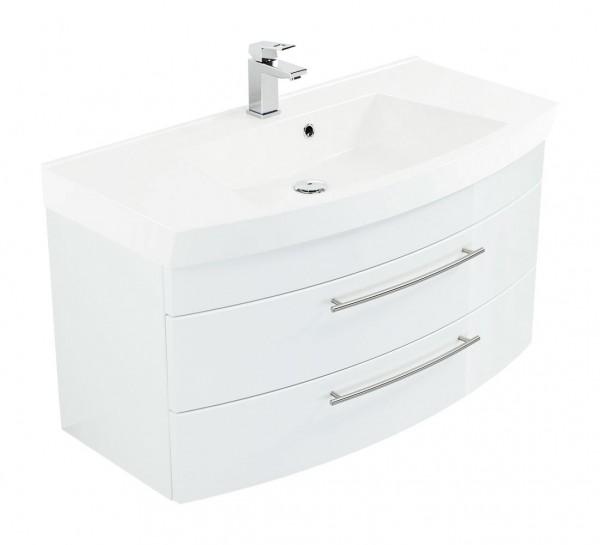 Posseik Badmöbel Waschtisch mit Unterschrank Luna 100 cm mit runder Front in Weiß Hochglanz