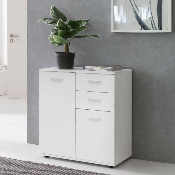 WOHNLING Kommode SVENJA mit Türen & Schubladen Schrank Weiß