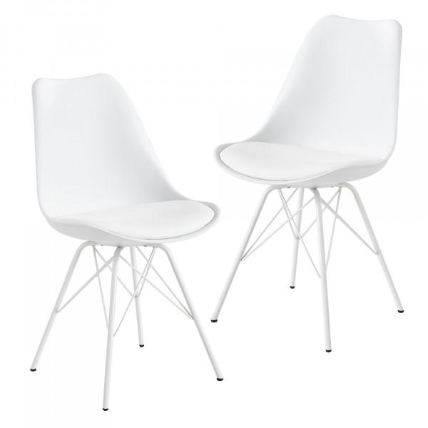 WOHNLING Esszimmerstuhl 2er Set Weiß Küchenstuhl Kunststoff Skandinavisches Design