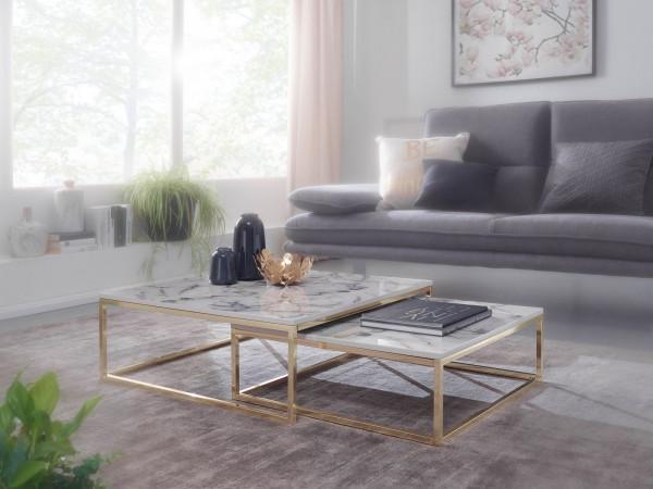 WOHNLING Design Couchtisch 2er Set Weiß Marmor Optik Eckig