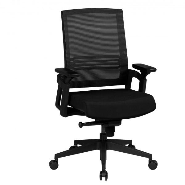 AMSTYLE Bürostuhl APOLLO A2 Stoffbezug Schreibtischstuhl Armlehne schwarz Chefsessel 120kg