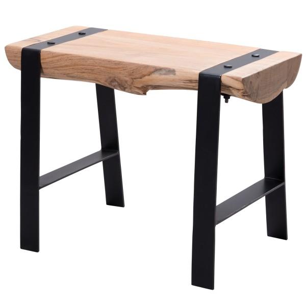 WOHNLING Design Sitzhocker 60 x 45 x 28 cm Vollholz Akazie Hocker | Holzhocker
