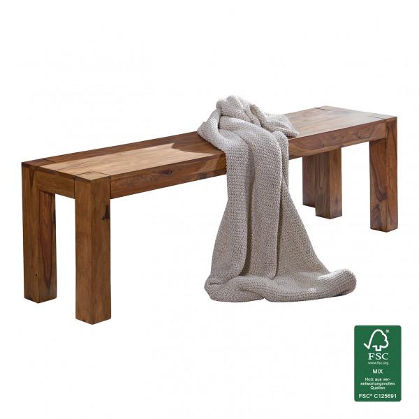 WOHNLING Esszimmer Sitzbank MUMBAI Massiv-Holz Sheesham 140 x 45 x 35 cm