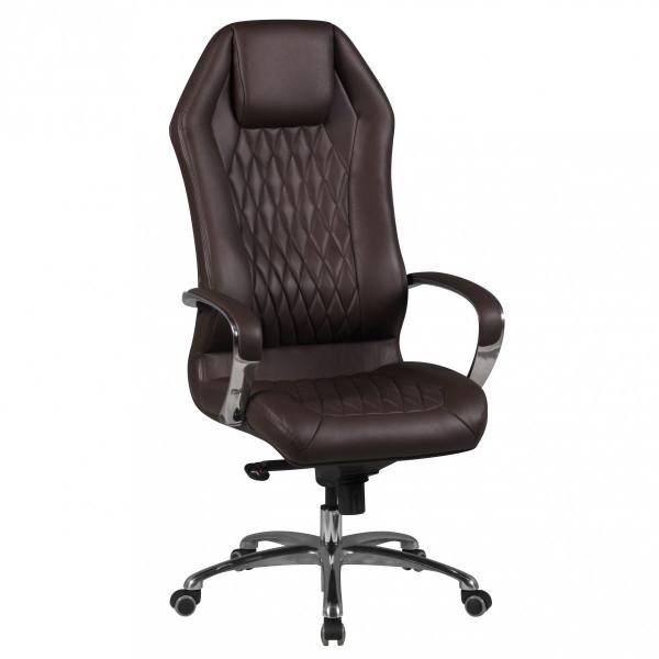AMSTYLE Bürostuhl MONTEREY Echt-Leder Braun Schreibtischstuhl 120KG Chefsessel hohe Rückenlehne