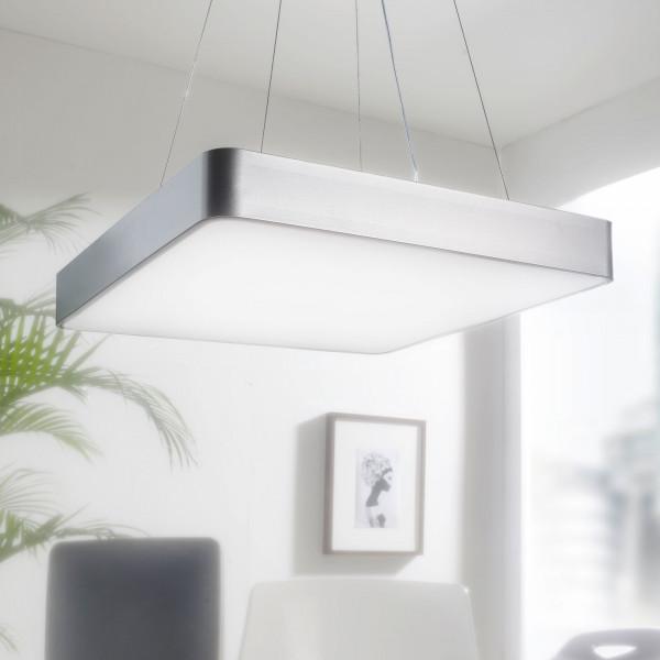WOHNLING LED-Büroleuchte SQUARE Arbeitspendelleuchte 64W silber 5440 Lumen | Pendelleuchte EEK A+ |