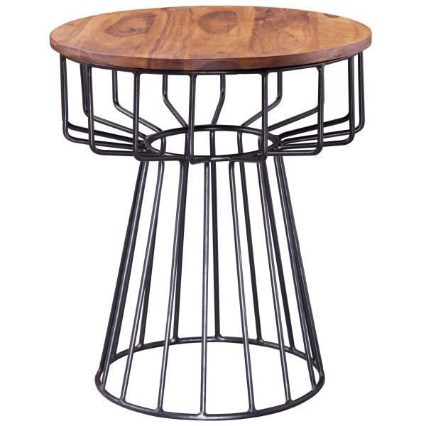 WOHNLING Beistelltisch 47 x 55 x 47 cm Sheesham Holz Metall Couchtisch | Industrial Style