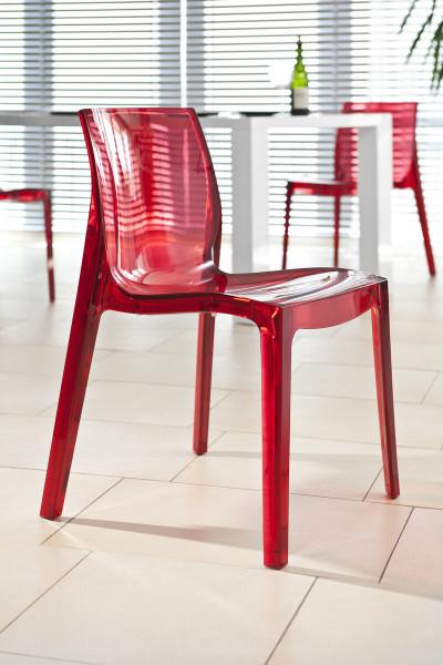 Designer Stuhl rot aus Kunststoff