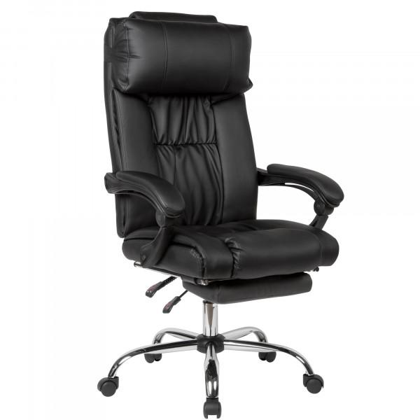 AMSTYLE Schreibtischstuhl Bezug Kunstleder Schwarz Arbeitsstuhl bis 150 kg