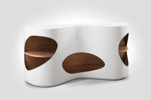 Sideboard 150x40x75 cm weiß/Walnuss