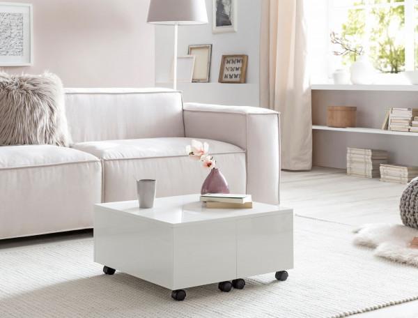 WOHNLING Couchtisch Weiß 60x30x60 cm Holz Wohnzimmertisch Tisch Klein | Kaffeetisch