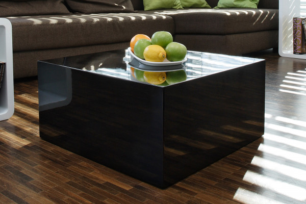 Couchtisch Cube 60x60x30cm Schwarz Hochglanz Lack