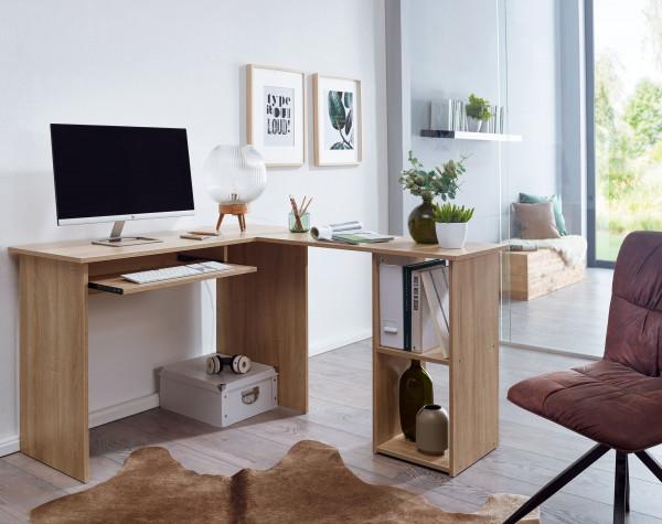 WOHNLING Design Schreibtischkombination 140 x 75,5 x 120 cm Sonoma