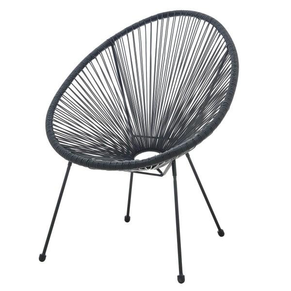MÖBILIA Stuhl, 2er-Set runde Sitzschale schwarz, Gartenstuhl, Indoor- und Outdoor Sessel