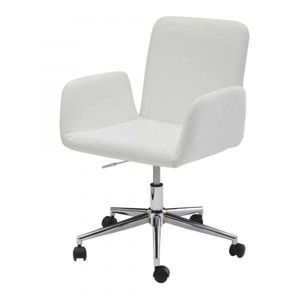 Amstyle Drehstuhl Weiß Kunstleder Drehbar mit Rollen   Design Schreibtischstuhl höhenverstellbar