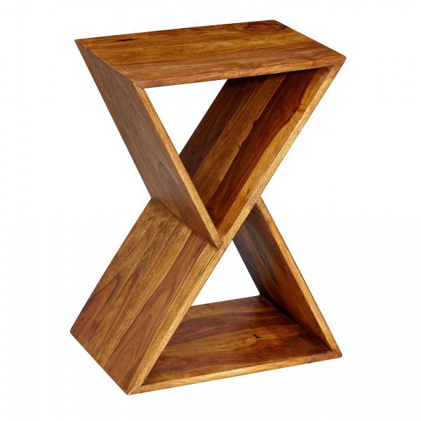 WOHNLING Beistelltisch X-Form Sheesham Massivholz Anstelltisch