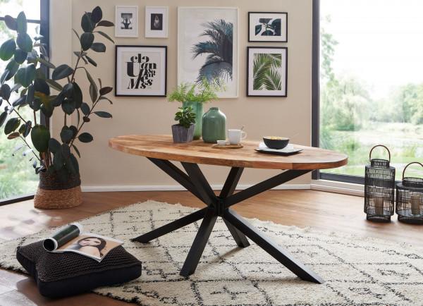 WOHNLING Design Esszimmertisch Massivholz / Metall Industrial Tisch Mango