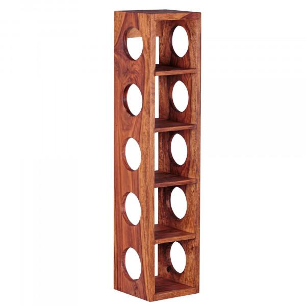 WOHNLING Weinregal MUMBAI Massiv-Holz Sheesham Flaschen-Regal Wandmontage für 5 Flaschen Holzregal