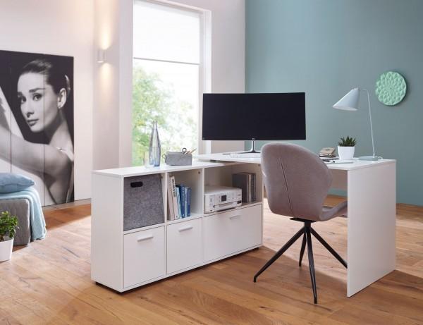 WOHNLING Schreibtischkombination 136x75,5x155,5 cm Weiß Schreibtisch mit Sideboard