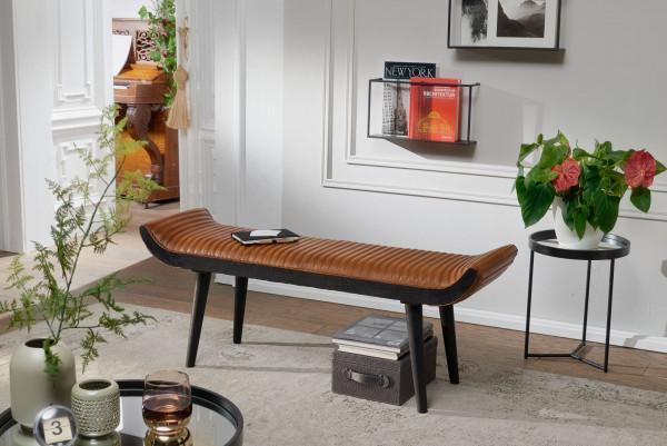 WOHNLING Sitzbank Echtleder / Massivholz Bank Braun 125x51x38 cm Modern