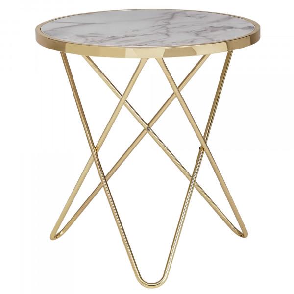 WOHNLING Design Beistelltisch Marmor Optik Weiß Rund Ø55 cm Gold Metallgestell